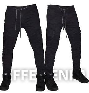 Jeans-Uomo-Nero-Cargo-Denim-Tasconi-Biker-Pantaloni-Multitasche-Elastico-6700