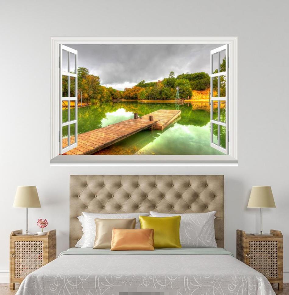3D Grün River Bridge 0101 Open Windows WallPaper Murals Wall Print AJ Jenny