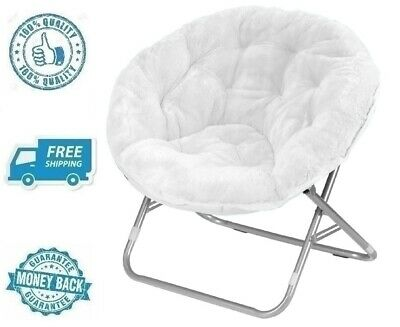 New White Faux Fur Fabric Saucer Chair Soft Plush Fluffy Lounger Moon Seat Kid | eBay