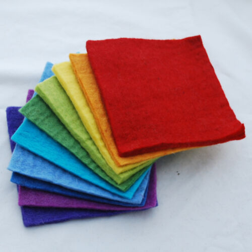 "6/"" Square Sheets Bundle 5mm Thick 15cm Handmade 100/% Wool Felt Fabric"