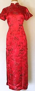 Classic-Brocade-Chinese-Cheongsam-Qipao-Dress-with-Dragon-Prints-Ankle-Length