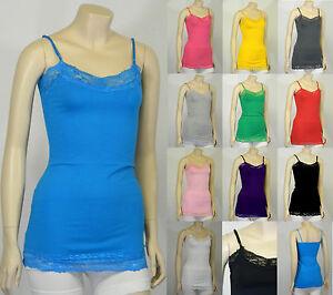 Basic-Cotton-Plain-Spaghetti-Strap-Lace-Trim-CAMI-TANK-TOP-Camisole