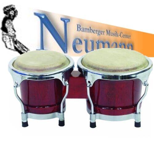 "Mini Bongo Set 4/"" 5/"" weinrot Holzkessel mit Zwei Naturfelle"