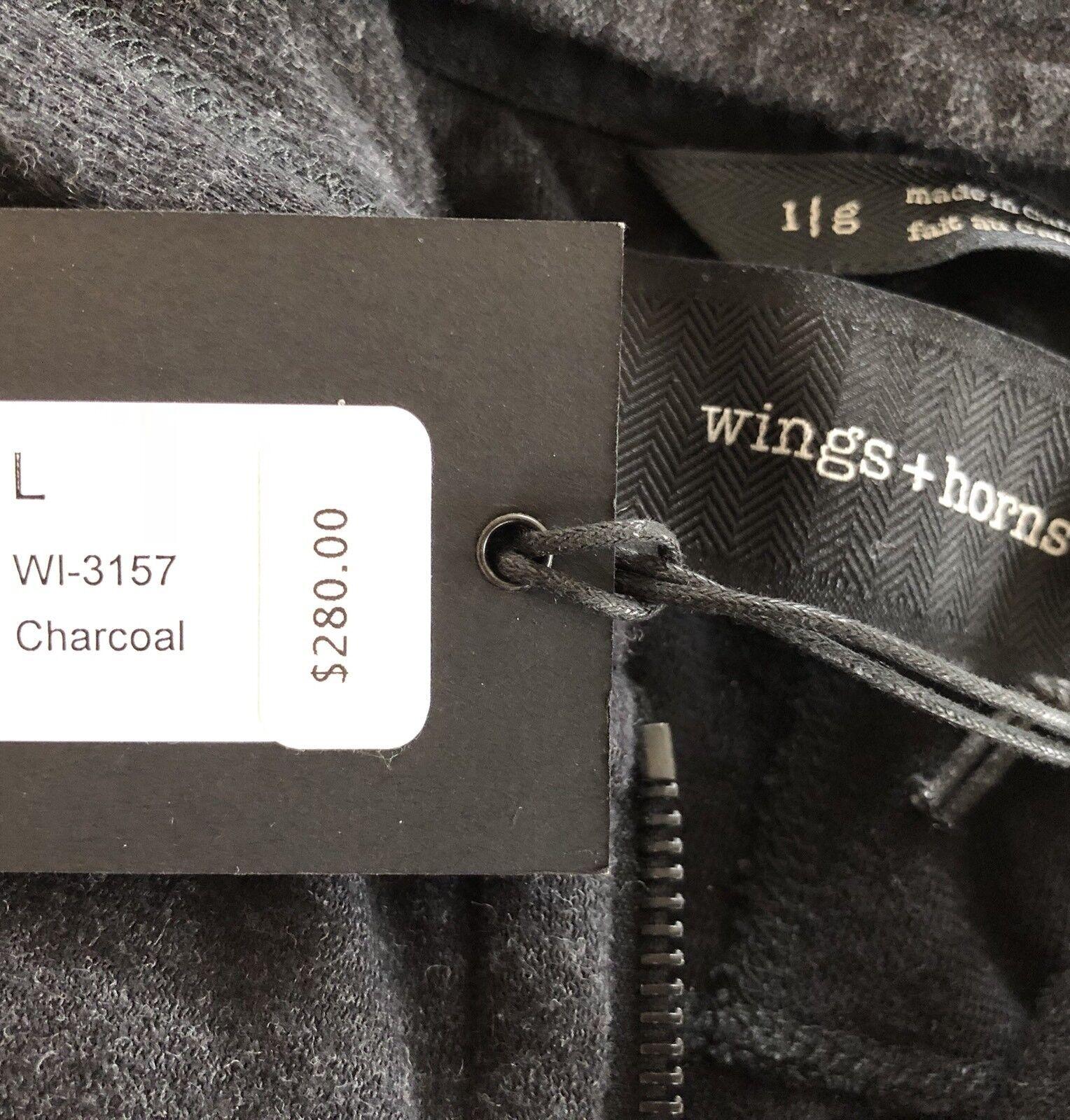 Wings + Horns hoody (sweatjacke) Double Knit Lounge Lounge Lounge talla L (wi-3157-cha) 9f43a1