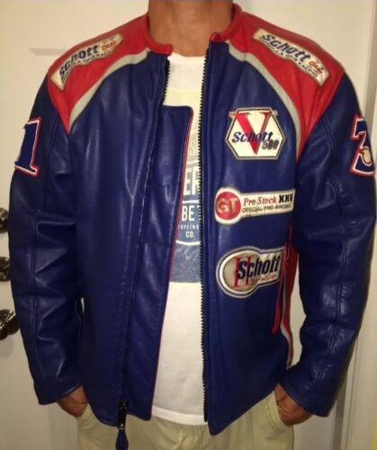 Men's Schott Leather Motorcycle Jacket Size Large