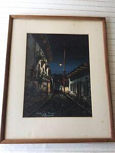 E-Aguirre-Diaz-Original-Watercolor-Calle-034-La-Ronda-034-Framed-9-3-4-034-x-12-1-2-034