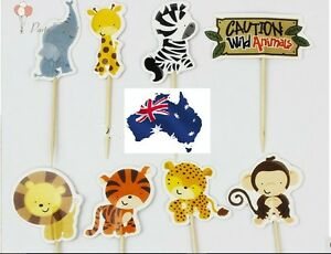 12-x-Cute-Jungle-Animals-CUPCAKE-CAKE-TOPPERS-Party-Jelly-Cup-Superb-Quality