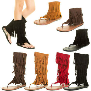 b419d97d83a3 Image is loading Fashion-Gladiator-Fringe-Tassel-Zipper-Sandal-Boot-Thong-