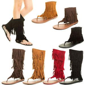 Fashion Gladiator Fringe Tassel Zipper Sandal Boot Thong