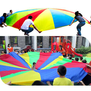 6ft-8-Handle-Kids-Child-Play-Rainbow-Parachute-Outdoor-Game-Exercise-Sports-Toy
