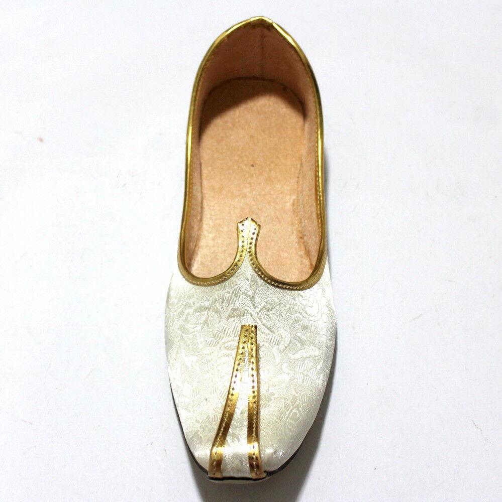 White Punjabi 100% Wedding Men Jutti Punjabi White US Traditional Moajri Khussa Flip Flop 39a7bf