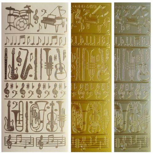 MUSIC INSTRUMENTS Peel Off Stickers Notes Drums Piano Guitar Trumpet Gold Silver