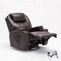 Massage Recliner Sofa Chair Ergonomic Lounge Swivel Heated W/Control Brown New
