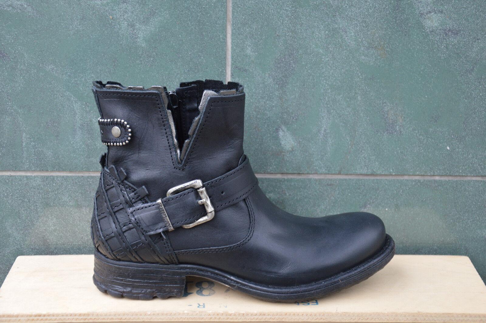Zapatos señora zapatos Replay botín Shoes zapatos botas de cuero negro Black