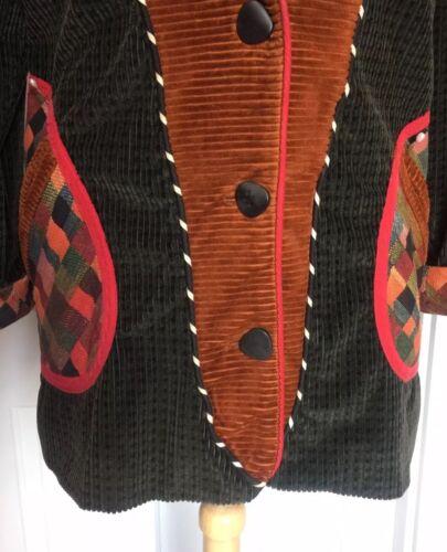 velluto a coste S scuro Canvasbacks Patchwork Sz Multicolor verde in Cappotto EHqwWBa