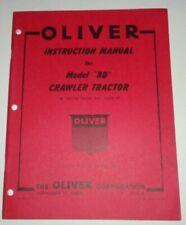 Oliver Bd Crawler Tractor Operators Instruction Service Manual 1050 Original