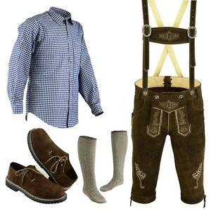 Herren Trachten Lederhose Größe 46-62 Trachten Set,Hemd,Schuhe,Socken Neu