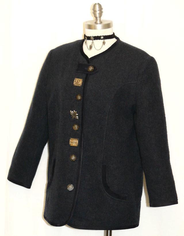 BLUE WOOL Sweater JACKET Women German Austria Hunting Winter Coat B44