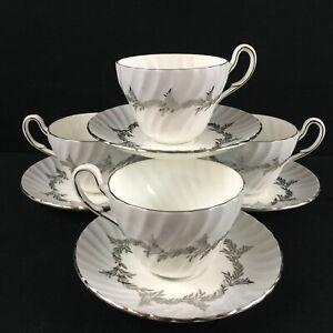 Set of 4 VTG Cups and Saucers EB Foley Silver Fern Platinum Trim Laurel England