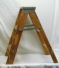 Old Vintage Primitive Wooden 2 Step Folding Stool Ladder Shabby Country Farm Dcr