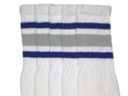"22-66 22"" KNEE HIGH WHITE tube socks with ROYAL BLUE//GREY stripes style 3"