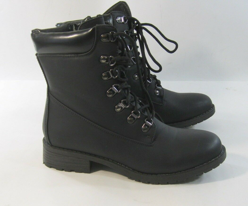 New ladies Black 1.5 Low Thick Heel Lace Up Round Toe Sexy Ankle Boot Size 7.5