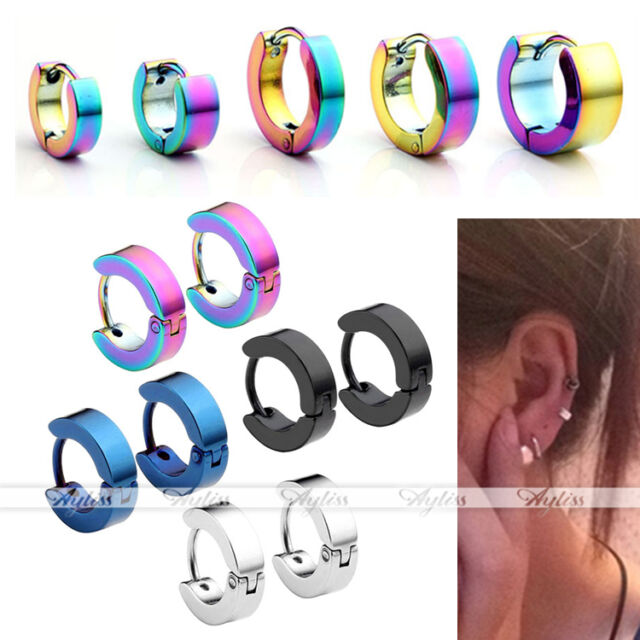 4 Pair Mix Color Men Women Stainless Steel Hoop Huggies Ear Stud Earrings Gothic