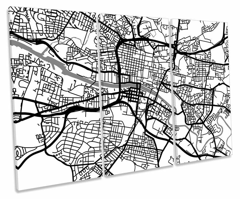 Glasgow Map Stadt Minimalistic Modern B&W TREBLE CANVAS Wand Kunst Box Framed Pictu