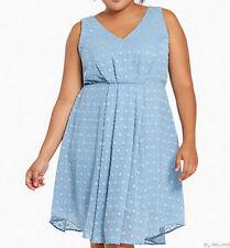 New Torrid Plus Size Light Blue Textured Chiffon V-Neck Dress in Size 26