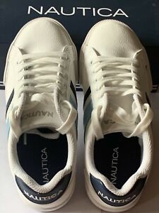 Nautica-Steam-White-Navy-Lace-Up-Sneakers-Women-6-Shoes