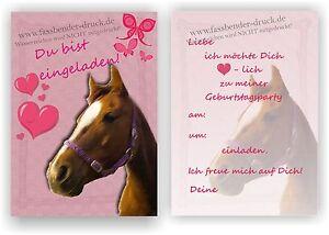 Das Bild Wird Geladen Einladung Kindergeburtstag Pferd  L Rosa Kinder Geburtstag Einladungskarten