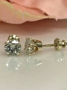 14K-Yellow-Gold-FN-1-50-Ct-Round-Moissanite-Solitaire-Stud-Earrings-Gift-Jewelry