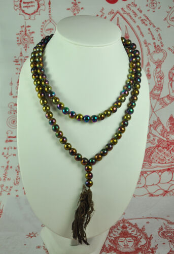 BIG Necklace Antique Leklai Somdej Thai Amulet 108 Buddha Prayer Bead Beads Mala