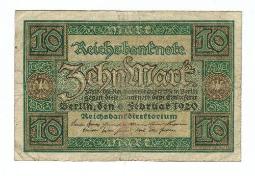GERMANY REICHSBANKNOTE 10 MARK 1920