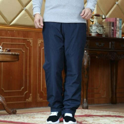 Winter Men Faux Fur Fleece Lining Pants Thermal Quilted Padded Trouser Warm Long