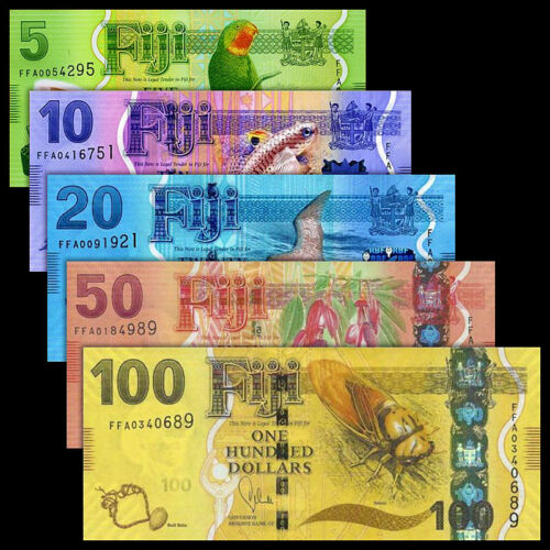 5 10 20 50 100 Dollars 2013 Fiji Set 5 PCS UNC P-115 116 117 118 119