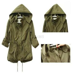 Women Military Parka Coat Hooded Trench Coat Jacket Long Outwear ...