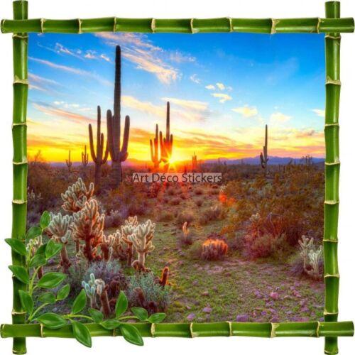 Sticker autocollant Cadre bambou Cactus7151