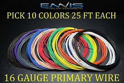 16 GAUGE WIRE ENNIS ELECTRONICS 25 FT EACH PRIMARY CABLE AWG COPPER CLAD 10 ROLL