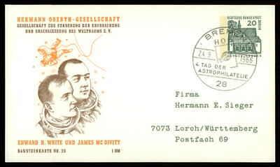 Berlin Privat-ga 1966 Weltraum Space Bausteinlarte 32 Hog Hermann Oberth Ep33