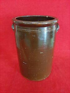 "Vintage Antique Glazed Brown Stoneware Pottery Crock Churn 13 3/4"" Tall"