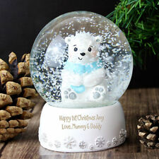 Personalised 1st Christmas Polar Bear Snow Globe Shaker Named Xmas Girls Boys