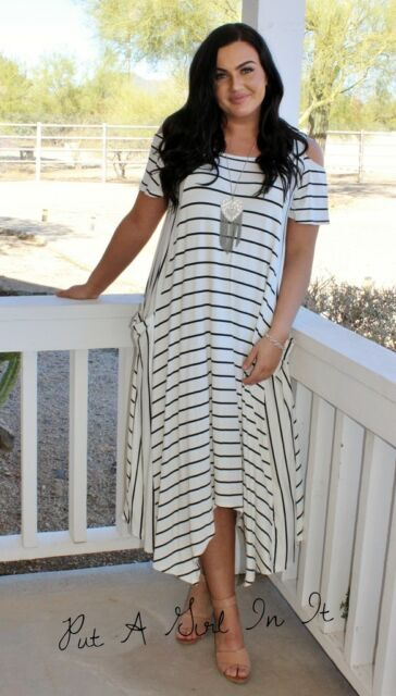PLUS SIZE BLACK AND WHITE STRIPED COLD SHOULDER MAXI DRESS POCKETS 1X 2X 3X  USA