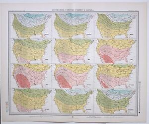 1899 LARGE WEATHER METEOROLOGY MAP ISOTHERMS UNITED STATES & CANADA ...