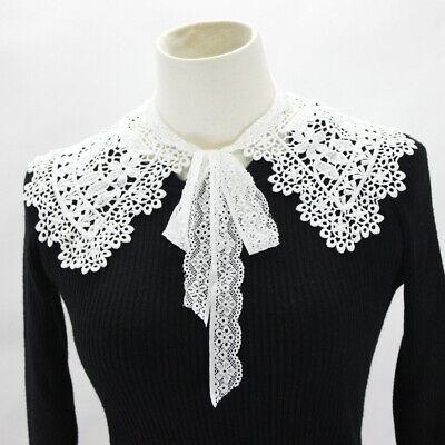 Women Lace Fake False Collar Detachable Lapel Shirt Blouse Choker Necklace White