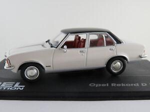 IXO-20-Opel-Record-D-2-1-BERLINE-1973-en-Blanc-Noir-1-43-Nouveau-PC-Vitrine