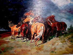 Olgemaelde-Pferde-im-Sturm-Gewitter-Ol-auf-Holz-nach-Alfred-Roloff-gez-1951