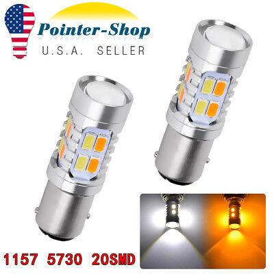 2x 1157 1142 Amber//White 5730 20SMD Led Bulbs Front Turn Signal Light Switchback