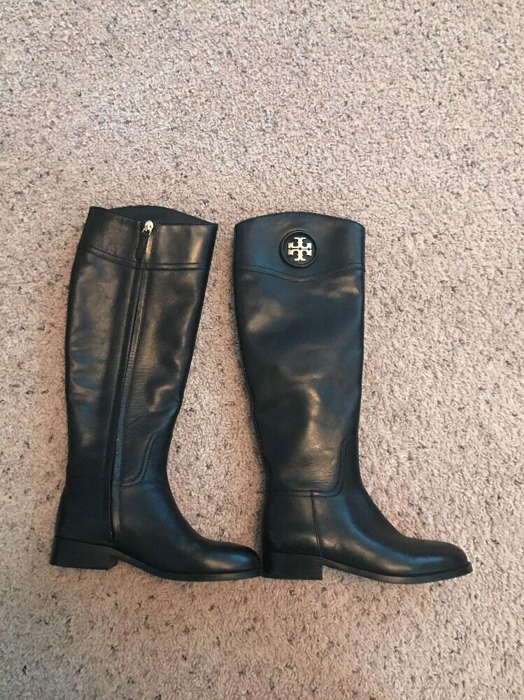 Tory Burch Ashlyn Cuero Negro botas De Montar Talla Talla Talla 5.5 De Altura  495 Nuevo  mas barato