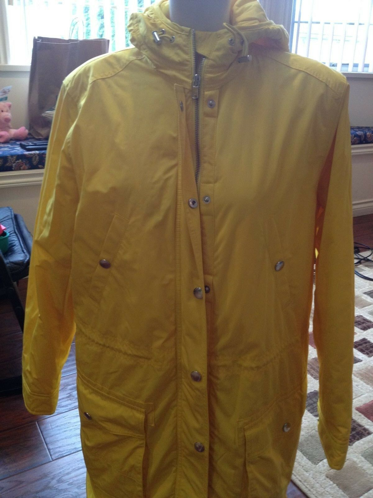 Lauren Ralph Lauren Women's New Yellow Quilted Hooded Coat Size Large